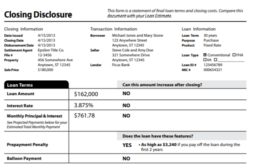 Screen capture: Closing disclosure form