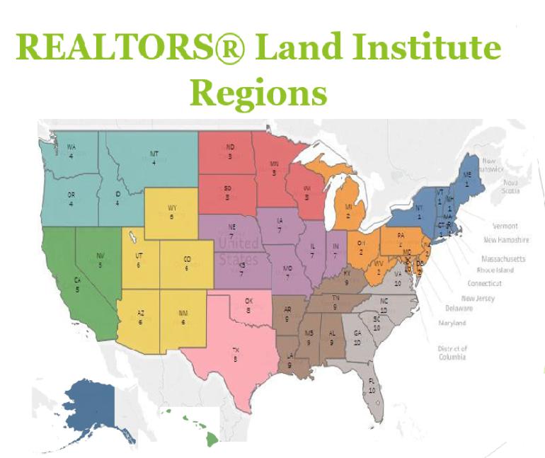 U.S. Map: REALTORS® Land Institute Regions