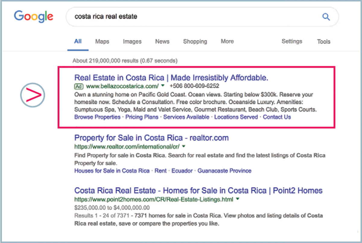 Google Search Network example
