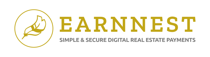 Earnnest logo in gold font with feather image to the left of the text