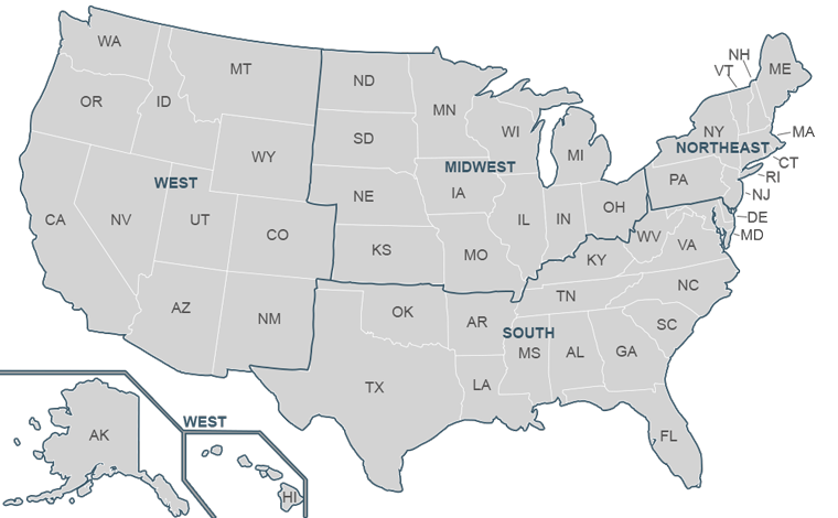 Map Of ExistingHome Sales Regions Wwwnarrealtor - South us region map