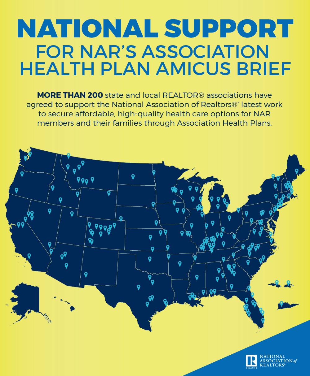 US Map Showing the National Support of State and Local Associations for Association Health Plans