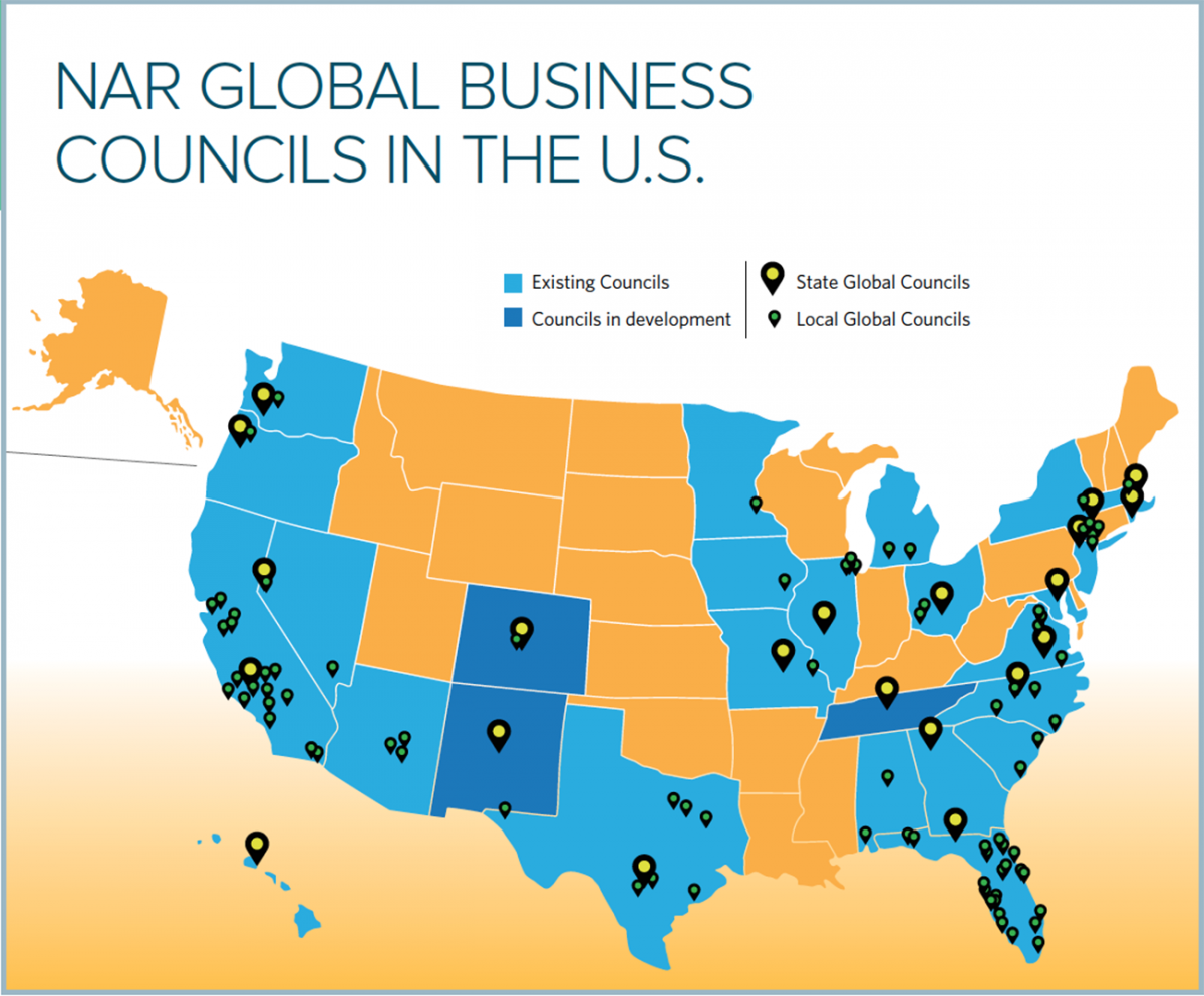 Map: NAR Global Business Councils in the U.S.