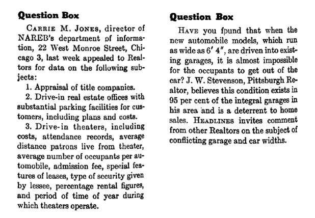An example of the old NAR Library question box column