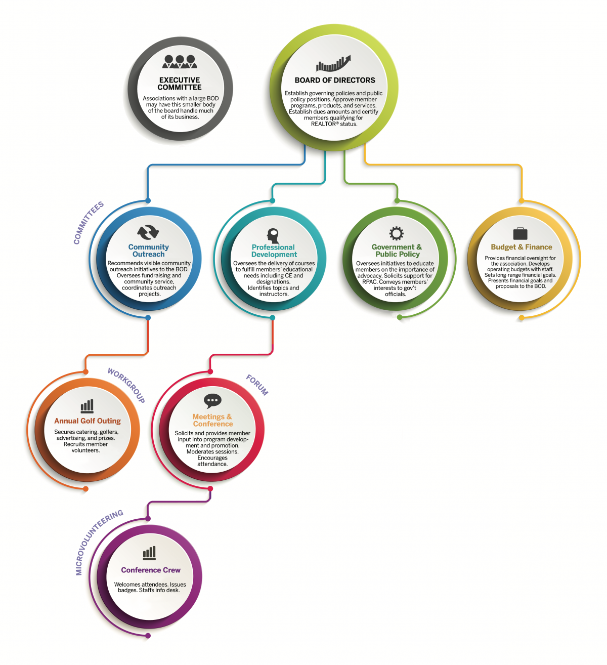 Sample Governance Structure showing board of directors, committees, on down.