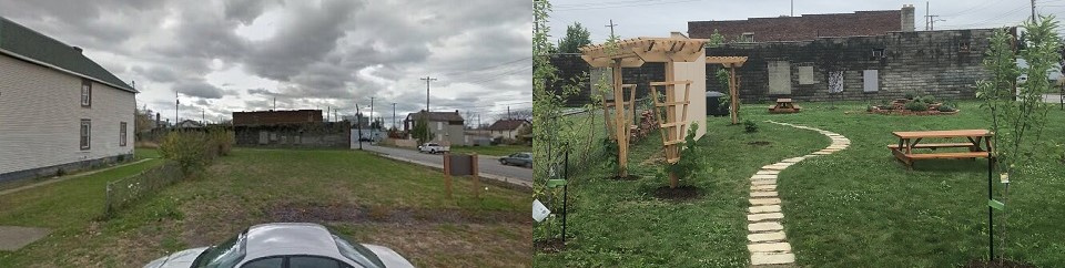 Before and after pictures of an empty lot turned into a park with a walking path, picnic tables, and trellises.