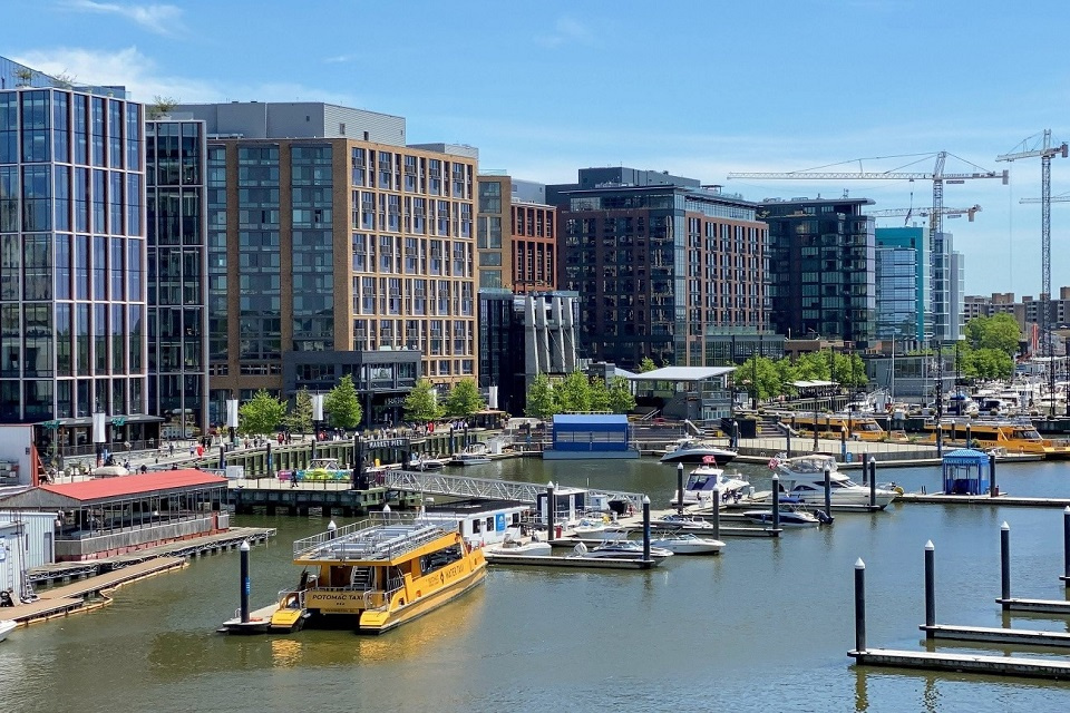View of The Wharf showing the waterfront buildings and the marina on the Anacostia River
