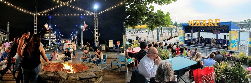 A collage of photos at The Wharf showing people seating around a firepit and another photo showing people watching a concert