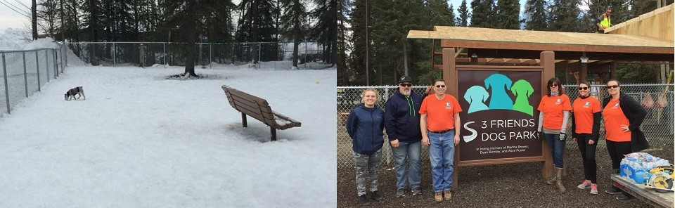 Dog running in the snow in a park with a bench and a tree; REALTORS® & volunteers standing next to the 3 Friends Dog Park's sign