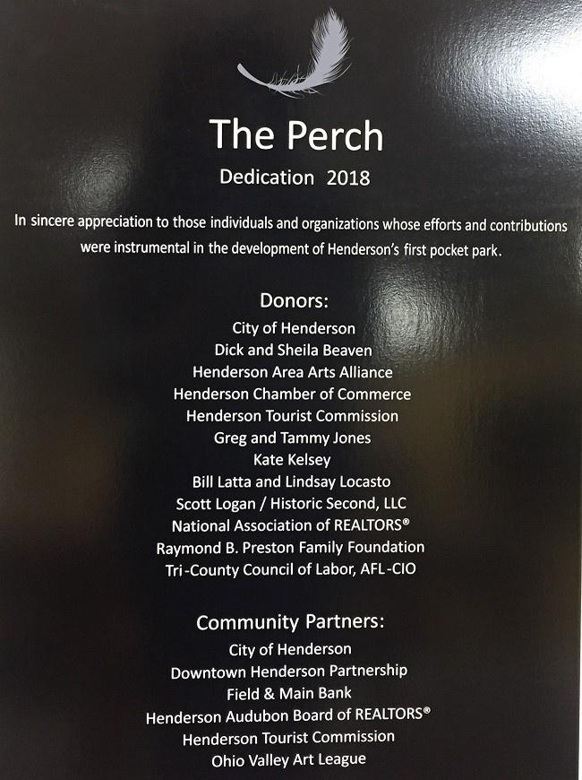 Dedication plaque for The Perch, Henderson, Kentucky
