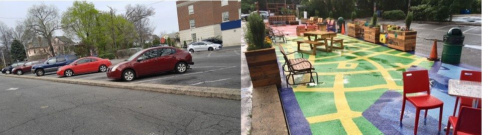 Before & After: Car parking lot turned into a colorful ground mural filled with tables, chairs and toys, and lined with plants.