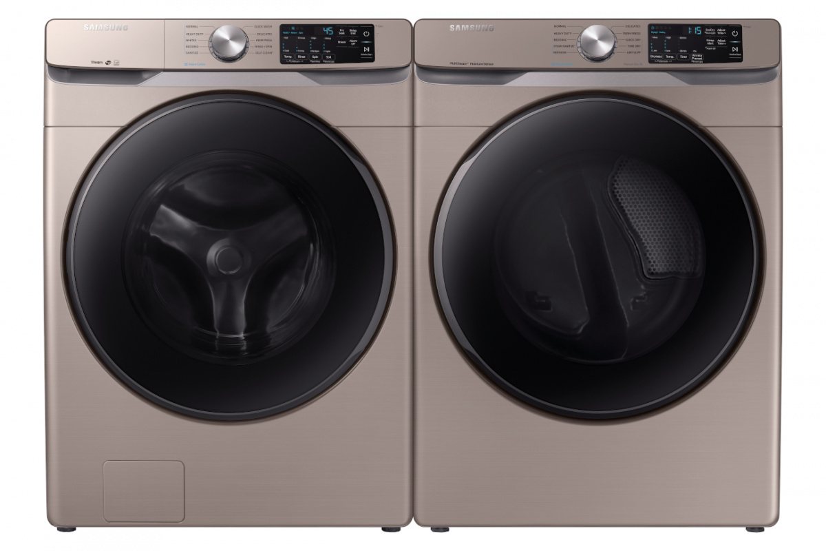 Two side by side gold finish washer and dryer from Samsung