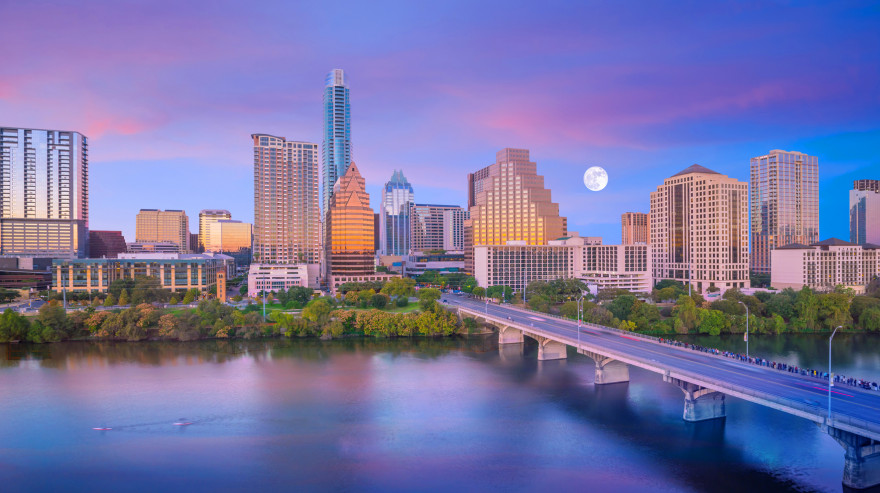 Downtown Austin Skyline with Moon