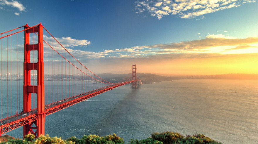The Golden Gate Bridge during sunset in San Francisco, California
