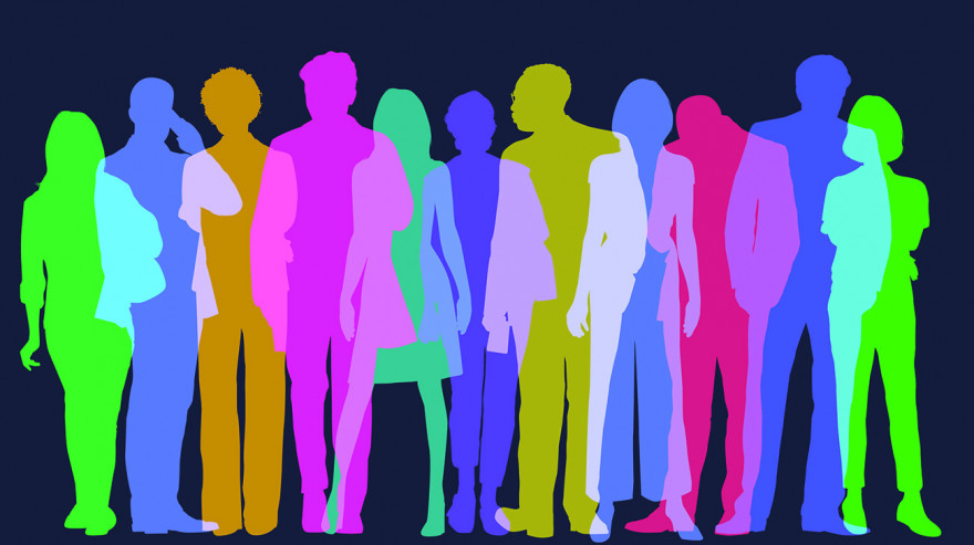 Colorful overlapping silhouettes of people