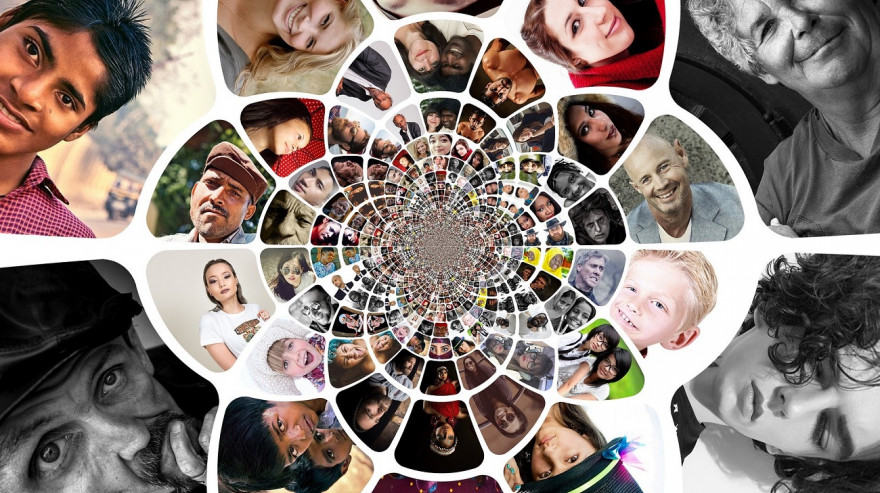 A kaleidoscope showing faces from around the world