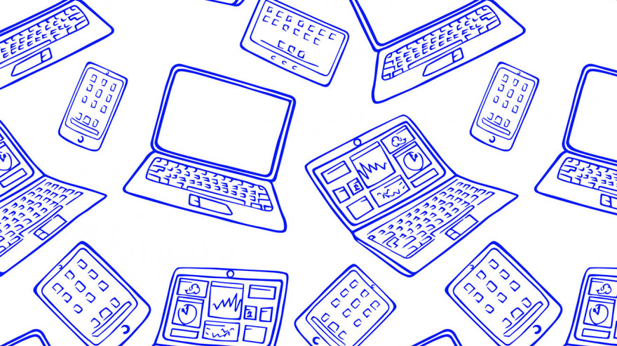 Drawing of laptops, tablets, and phones
