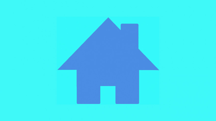 French blue house icon on aqua background