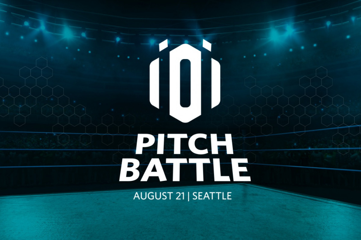 iOi Pitch Battle 2019 logo graphic wrestling ring image in shades of green and