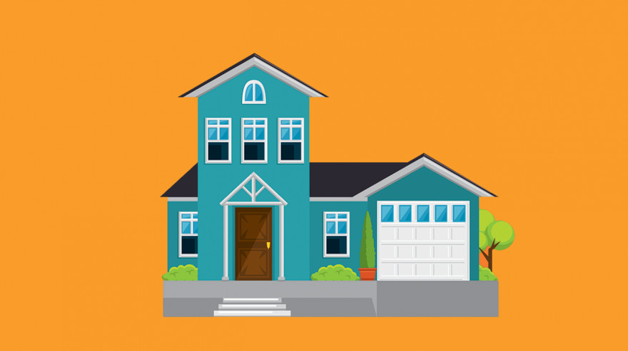 Illustration of a house on an orange background