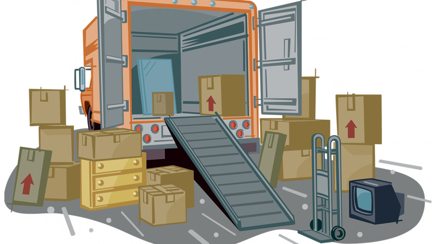 Illustration of a moving van and boxes