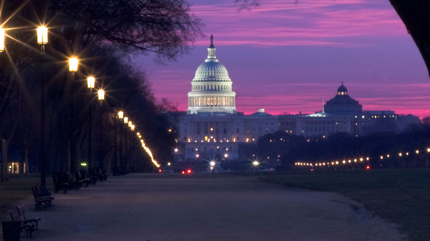 National Mall and US Capitol Building at Sunrise