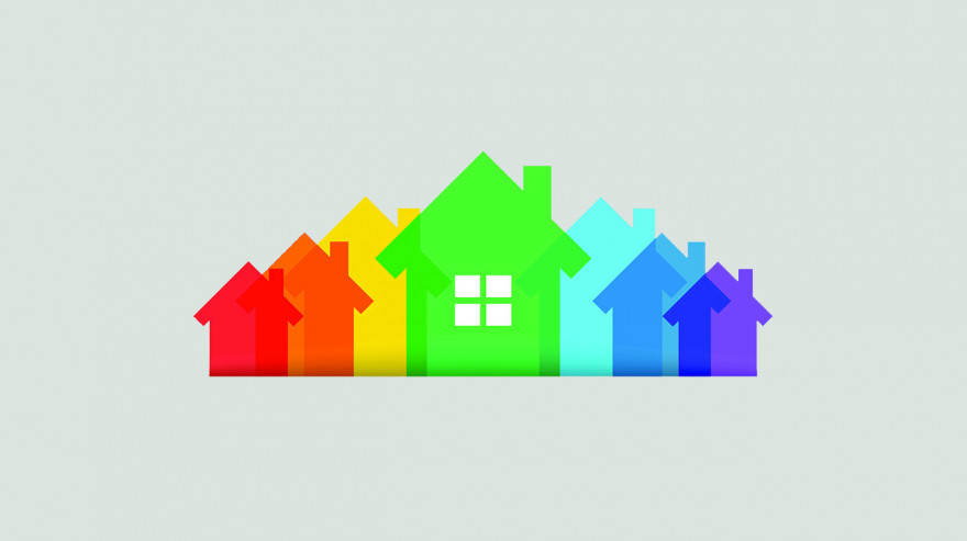 Illustration of houses in rainbow colors