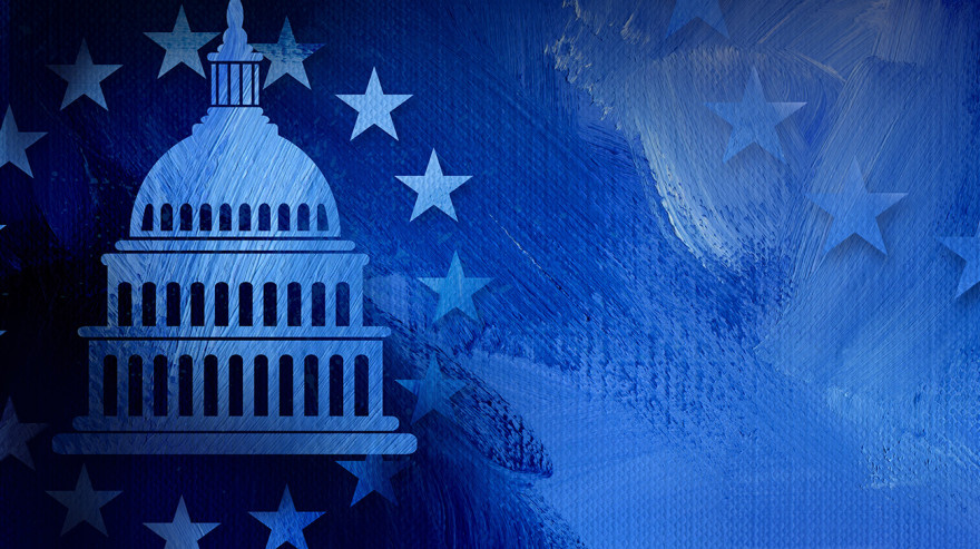 Graphic of Capitol Building dome with a circle of stars in blue