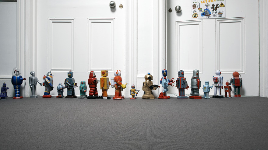 Toy robots outside kid's room