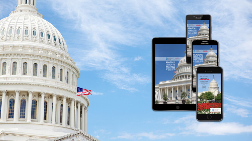 Mobile app screens with US Capitol in background