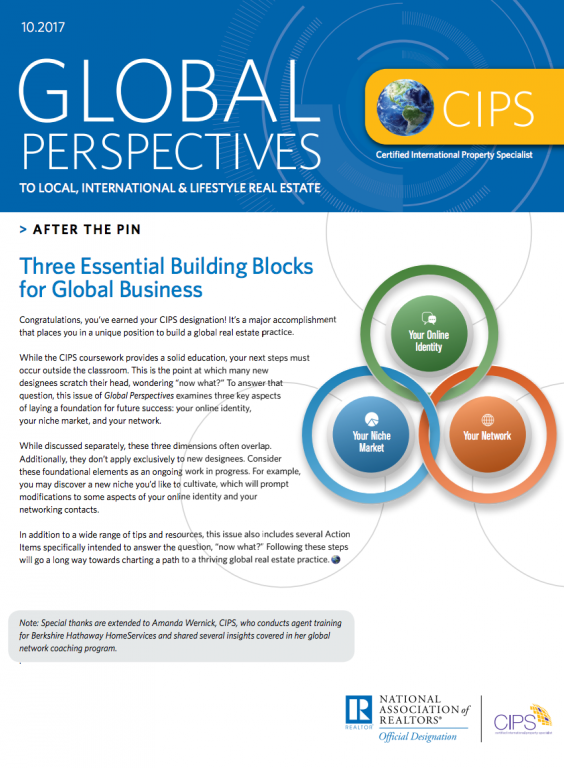 Cover of the October 2017 issue of Global Perspectives: After the Pin