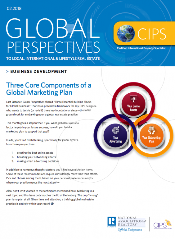 Cover of the February 2018 issue of Global Perspectives: Business Development