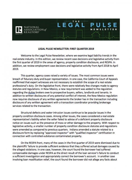 cover of document: Legal Pulse Newsletter 1Q 2019