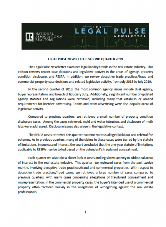 Legal Pulse 2Q 2019 publication cover image