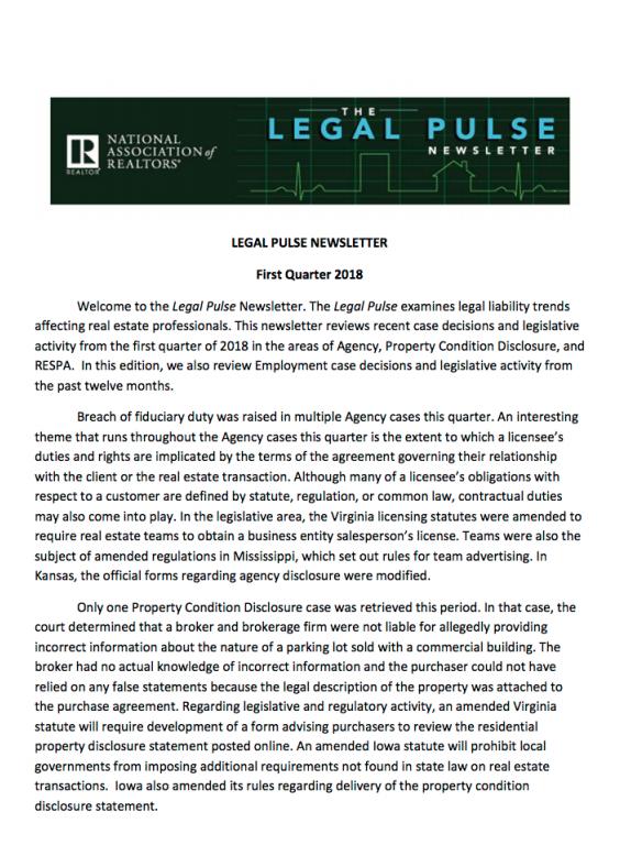 Legal Pulse Q1 2018