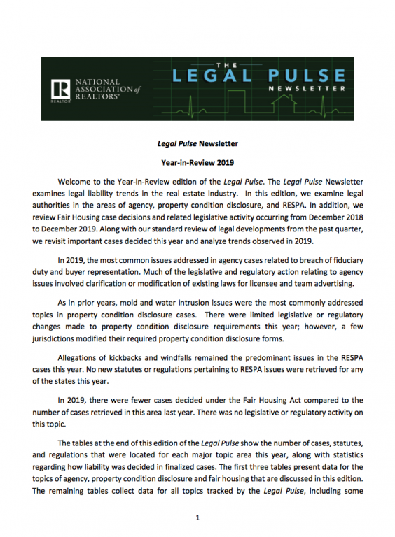 First page of the Legal Pulse Q4 Newsletter