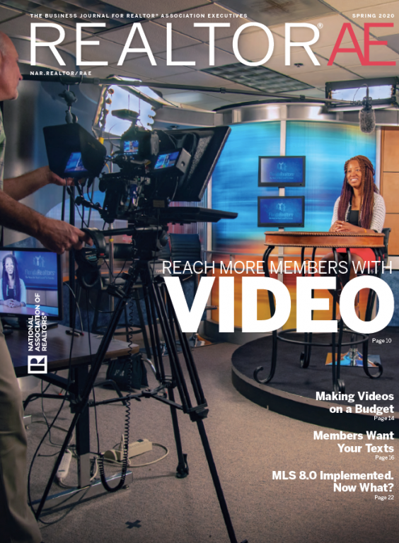 Image of the Spring issue of REALTOR® AE magazine 2020 as seen in a tv/video studio