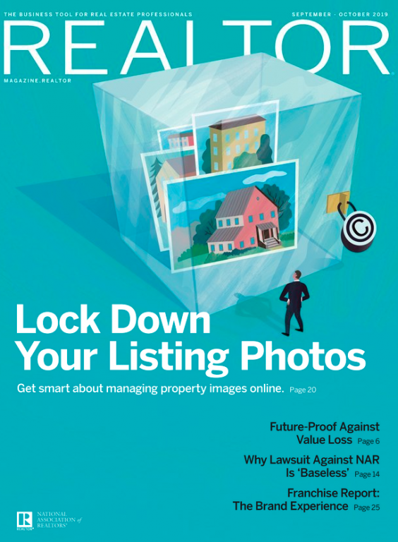 Aqua Green Colored Cover for the September/October 2019 issue of REALTOR® Magazine titled Lock down your listing photos