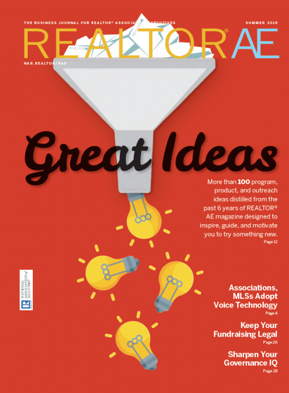 Cover image of the publication REALTOR® AE Magazine, Summer 2019 issue, Great ideas on a red background with light bulbs.