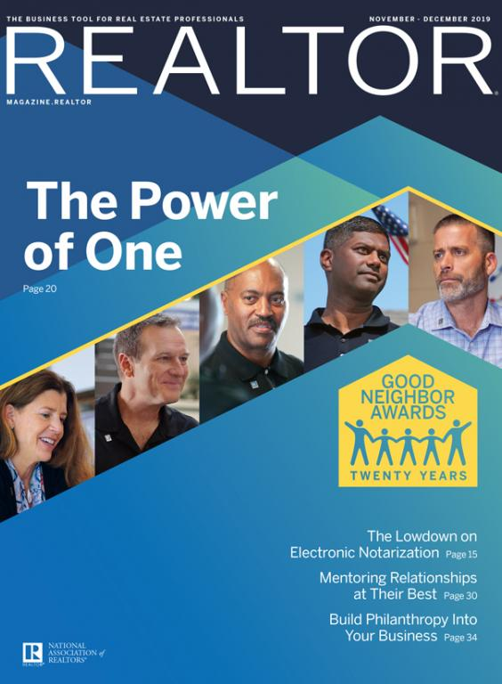 REALTOR® Magazine November-December 2019 issue cover, The Power of One and Good Neighbor Awards