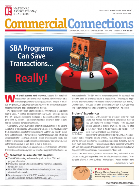 Cover of the 2011 Winter issue of Commercial Connections: SBA Programs Can Save Transactions