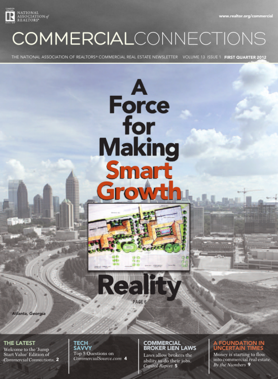 Cover of the 2012 Spring issue of Commercial Connections: A Force for Making Smart Growth Reality