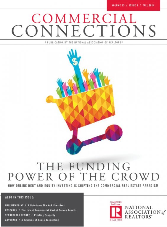 Cover of the 2014 Fall issue of Commercial Connections: The Funding Power of the Crowd