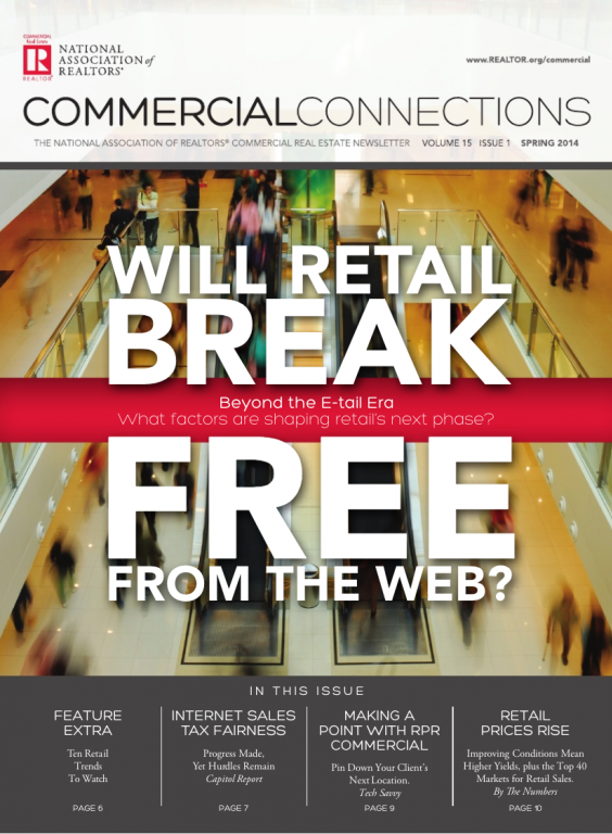 Cover of the 2014 Spring issue of Commercial Connections: Will Retail Break Free from the Web?