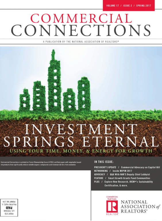 Cover of the 2017 Spring issue of Commercial Connections: Investment Springs Eternal