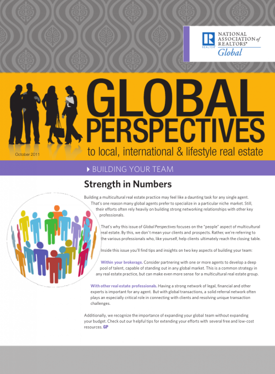 Cover of the October 2011 issue of Global Perspectives: Building Your Team