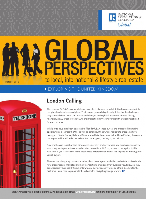 Cover of the October 2012 issue of Global Perspectives: Exploring the United Kingdom
