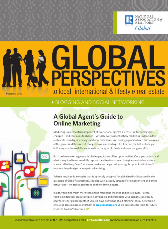 Cover of the February 2013 issue of Global Perspectives: Blogging and Social Networking