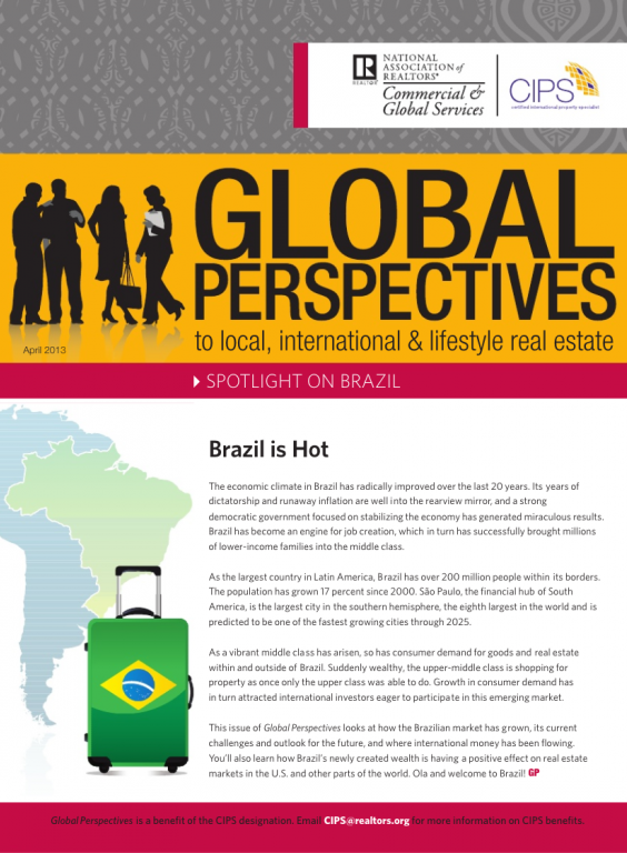 Cover of the April 2013 issue of Global Perspectives: Spotlight on Brazil