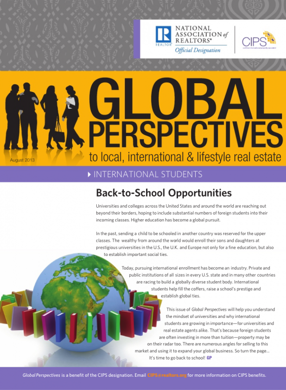 Cover of the August 2013 issue of Global Perspectives: International Students